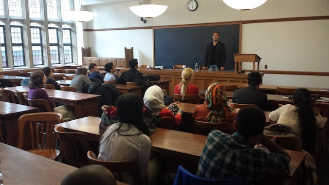 Qusai speaks to a group of law students at Yale Law School in Connecticut. Photo by Zack Baddorf